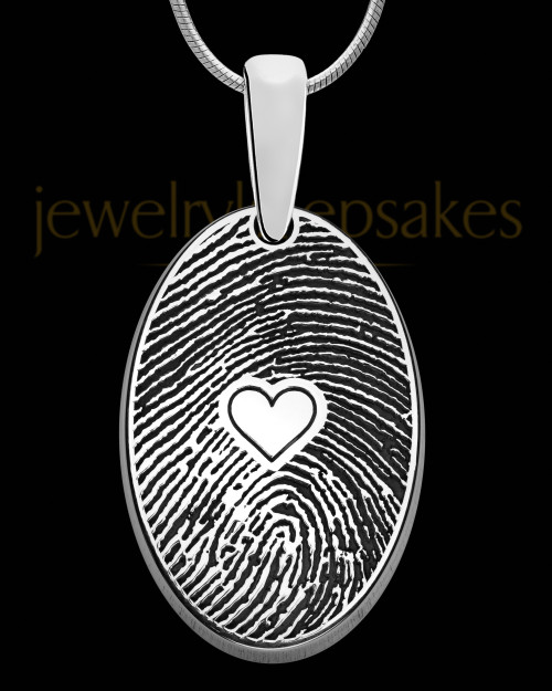 Solid 14k White Gold  Heartfelt Oval Heart Thumbprint Pendant