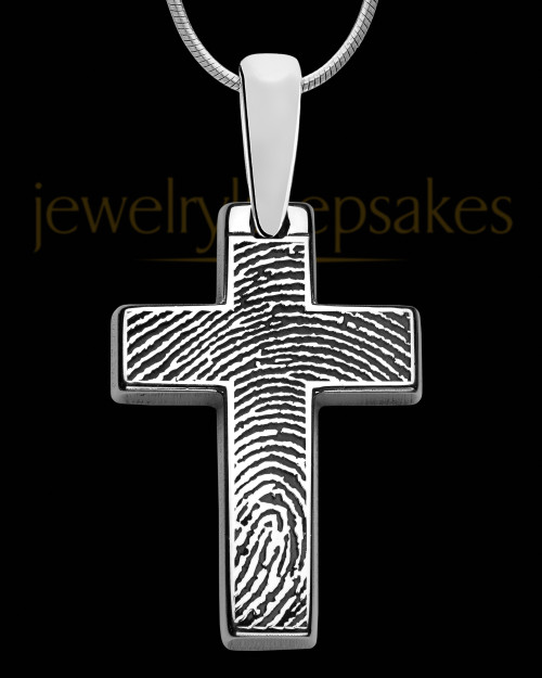 Divine Cross Sterling Silver Thumbprint Pendant