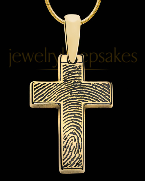 Divine Cross Gold Plated over Sterling Thumbprint Pendant
