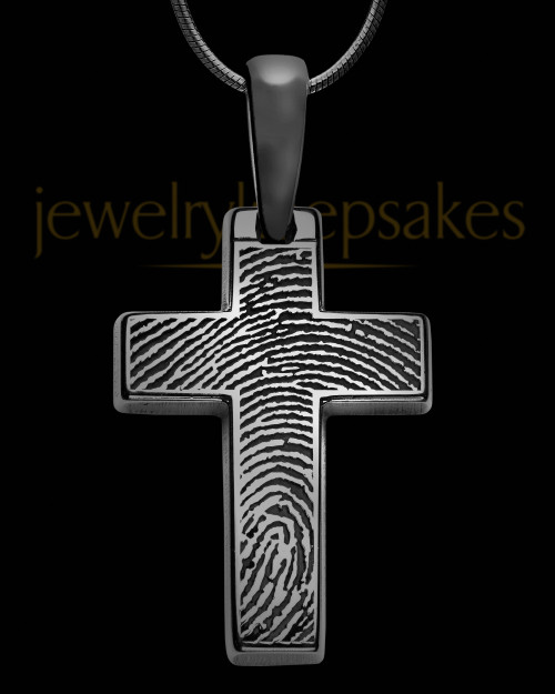 Divine Cross Black Plated over Sterling Thumbprint Pendant