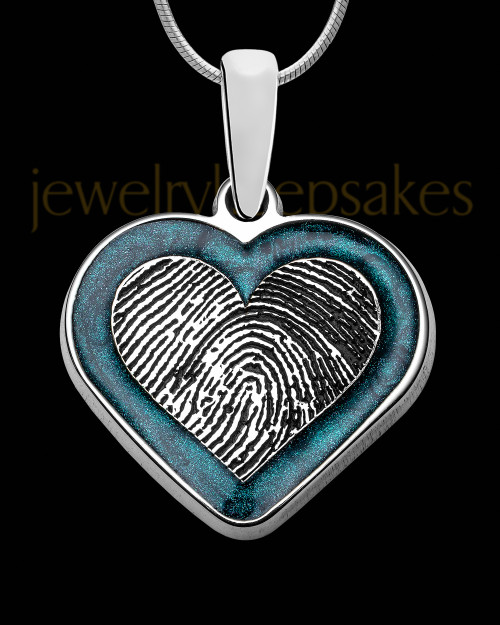Sterling Silver Colored Heart Thumbprint Pendant