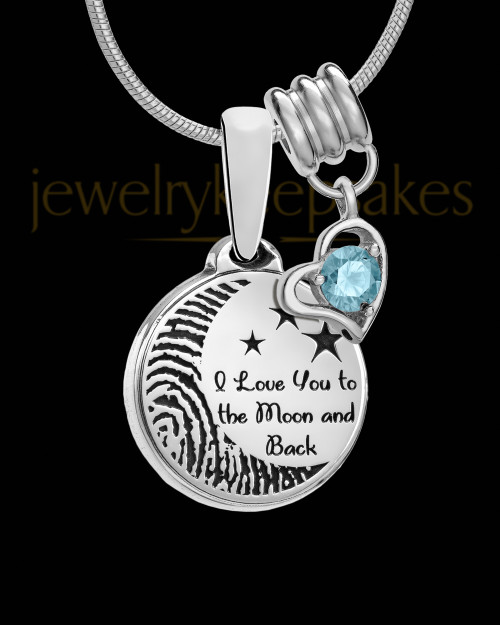 Sterling Silver to the Moon and Back with Birthstone Thumbprint Pendant