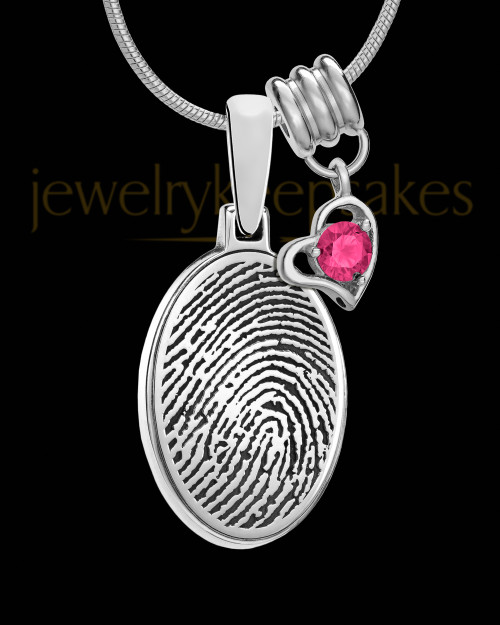 Oval Sterling Silver with Birthstone Thumbprint Pendant