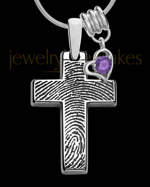 Divine Cross with Birthstone Sterling Silver Thumbprint Pendant