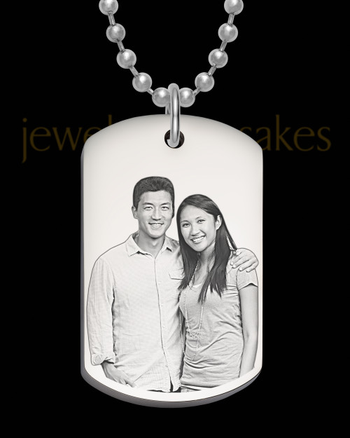 Photo Engraved Stainless Steel Thick Dog Tag Pendant