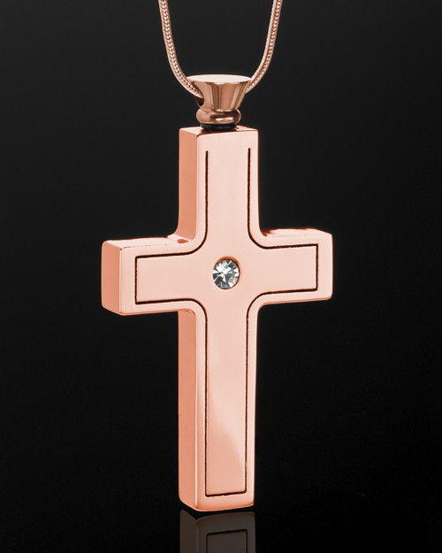 Rose Gold Plated Jewelry Urn Truthful Cross