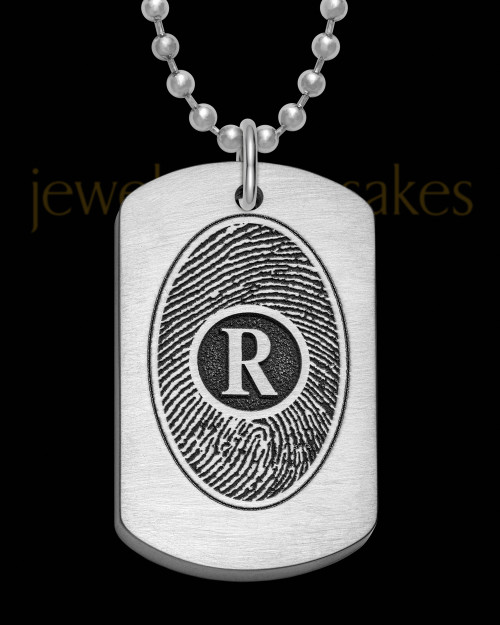 Brushed Stainless Steel Initial Thick Dog Tag Thumbprint Pendant