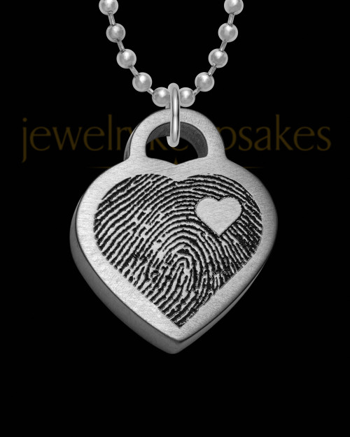 Stainless Steel Brushed Thick Small Heart Thumbprint Pendant