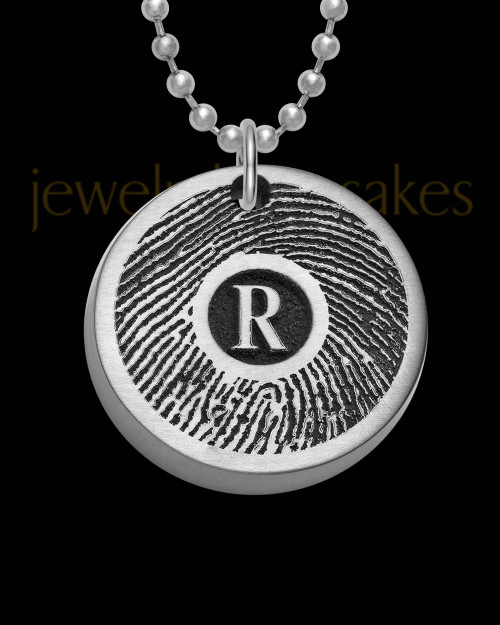 Stainless Steel Initial Petite Thick Brushed Round Thumbprint Pendant