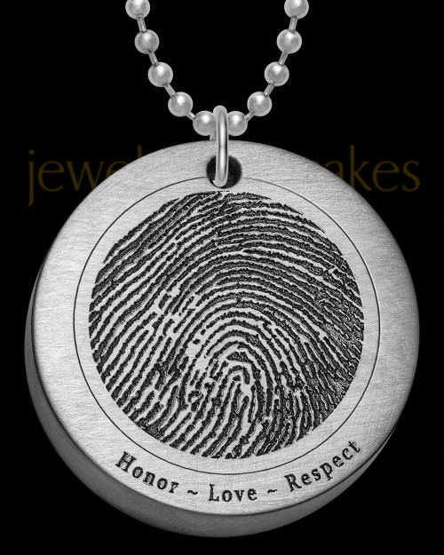 Brushed Stainless Steel Thick Round Thumbprint Pendant