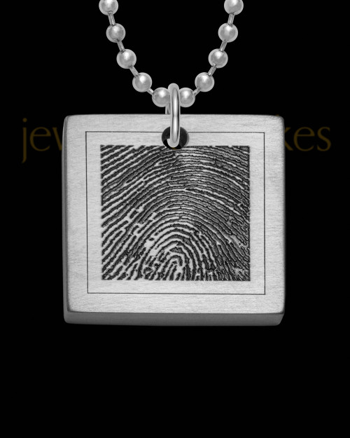 Stainless Steel Thick Brushed Square Thumbprint Pendant