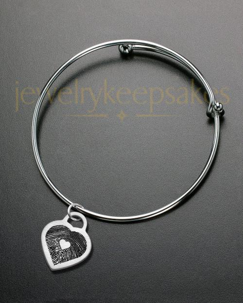 Brushed Small Heart Thumbprint Sophisticate Bracelet