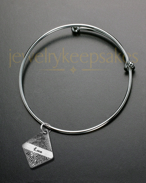 Brushed Elongated Diamond Thumbprint Sophisticate Bracelet