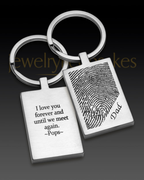 Stainless Steel Rectangle Brushed Thumbprint Keychain