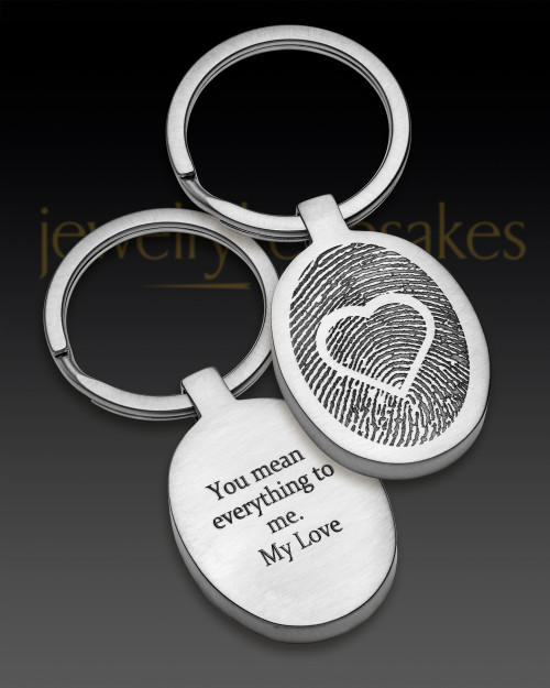 Stainless Steel Brushed Oval with Heart Thumbprint Keychain