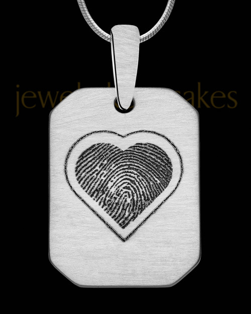 Stainless Steel Brushed Octagon with Heart Thumbprint Pendant