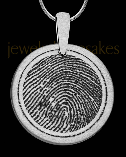 Brushed Stainless Steel Round Thumbprint Pendant