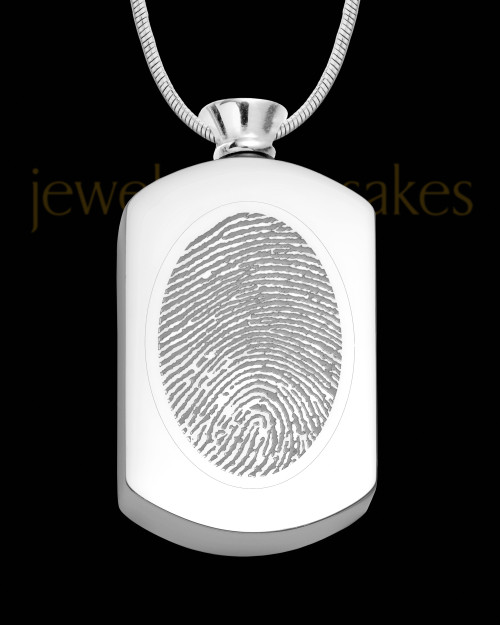Stainless Stunning Rectangle Thumbprint Pendant