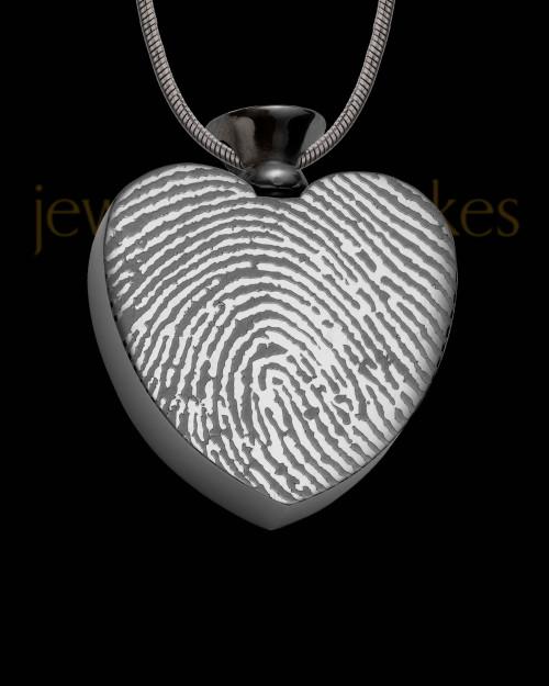 Black Plated Stainless Enamored Heart Thumbprint Pendant