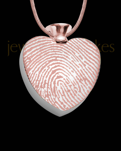 Rose Gold Plated Stainless Enamored Heart Thumbprint Pendant