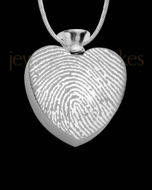 Stainless Enamored Heart Thumbprint Pendant