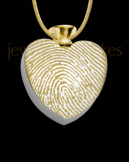Gold Plated Stainless Enamored Heart Thumbprint Pendant