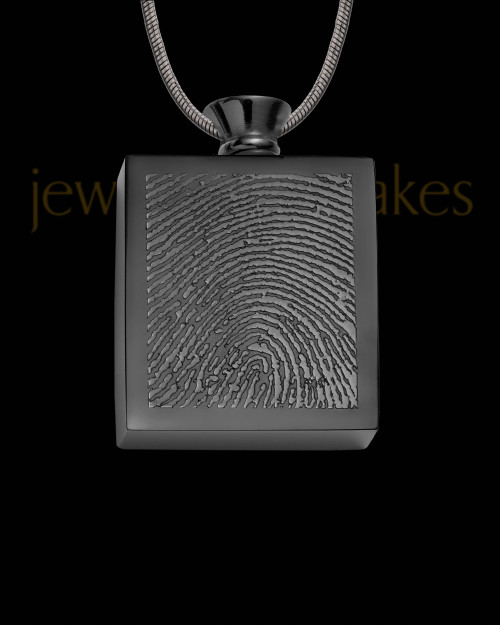 Black Plated Stainless Whispering Thoughts Thumbprint Pendant