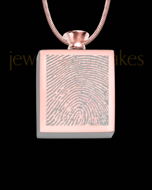 Rose Gold Plated Stainless Whispering Thoughts Thumbprint Pendant