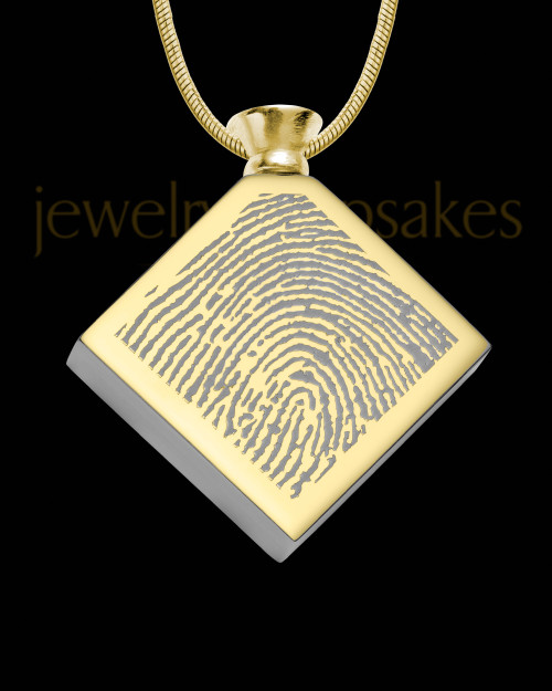 Gold Plated Stainless Beloved Diamond Thumbprint Pendant
