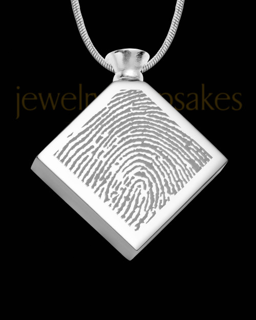 Stainless Beloved Diamond Thumbprint Pendant