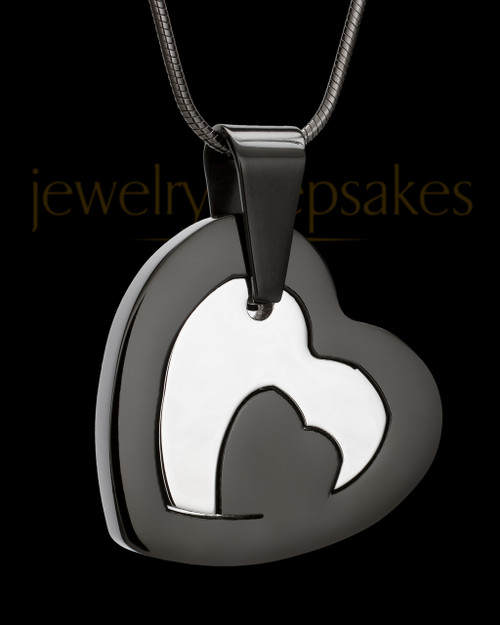 Cremation Keepsake Black Stainless Candid Heart
