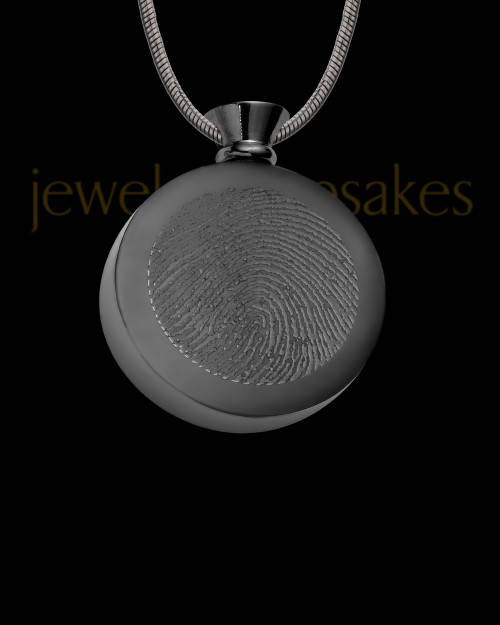 Black Plated Stainless Abounding Circle Thumbprint Pendant