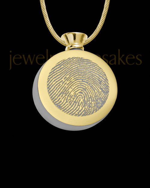 Gold Plated Stainless Abounding Circle Thumbprint Pendant
