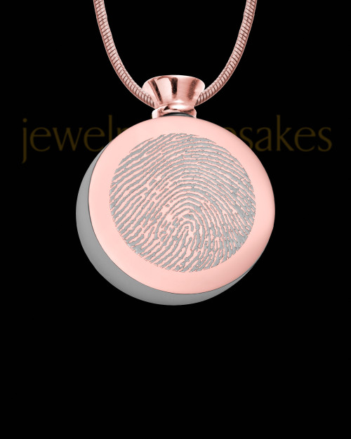 Rose Gold Plated Stainless Abounding Circle Thumbprint Pendant