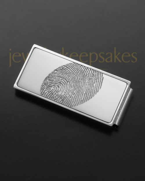 Silver on Silver Stainless Thumbprint Money Clip