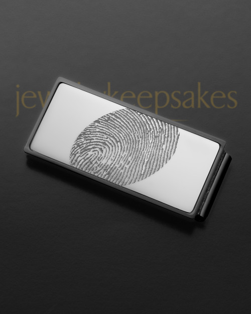 Silver on Black Stainless Thumbprint Money Clip