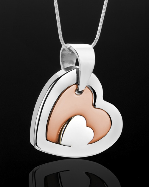 Stainless Steel and Rose Gold Candid Heart Keepsake