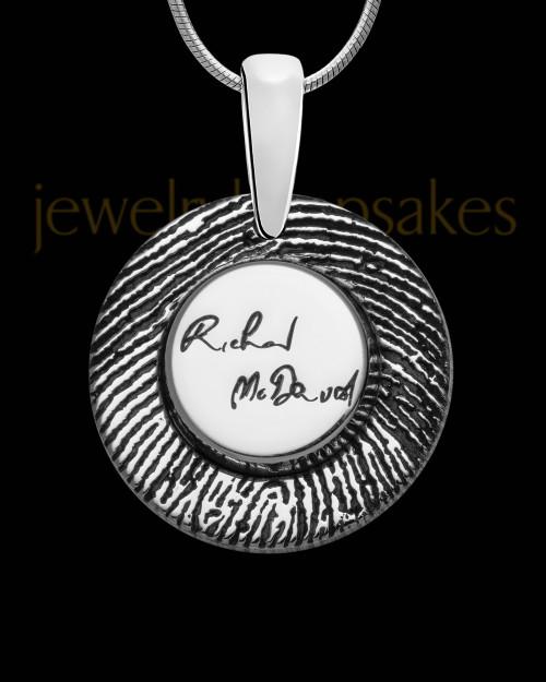 Sterling Silver Signature Circle Thumbprint Pendant