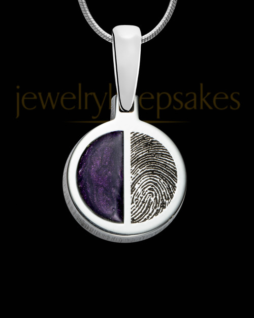 Sterling Silver Round Ash and Thumbprint Pendant