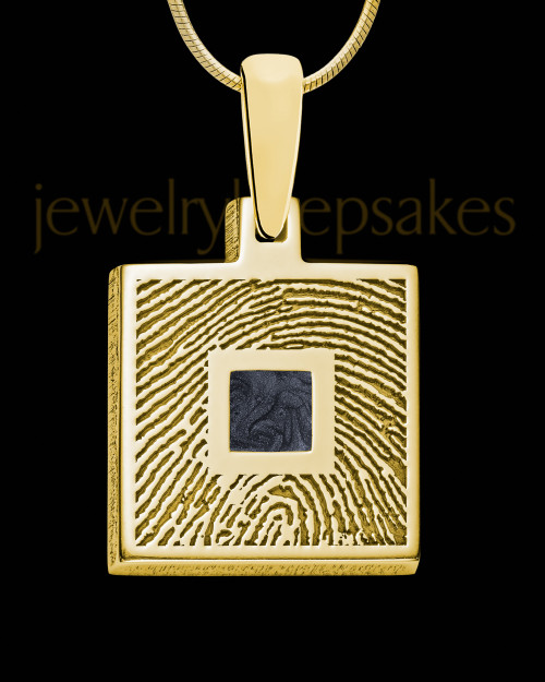 Gold Plated Sterling Silver Square Ash and Thumbprint Pendant