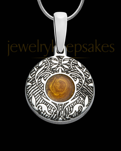 Sterling Silver Small Round Ash and Thumbprint Pendant