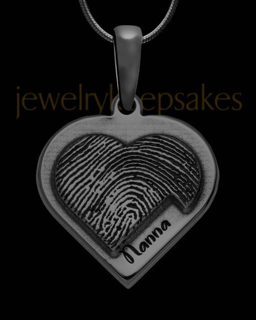 Black Sterling Silver Raised Heart Thumbprint Pendant