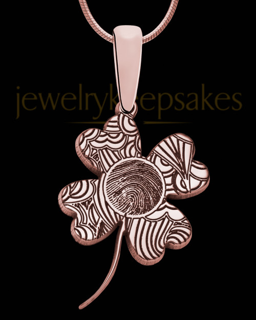Rose Gold Sterling Silver Four Leaf Clover Thumbprint Pendant
