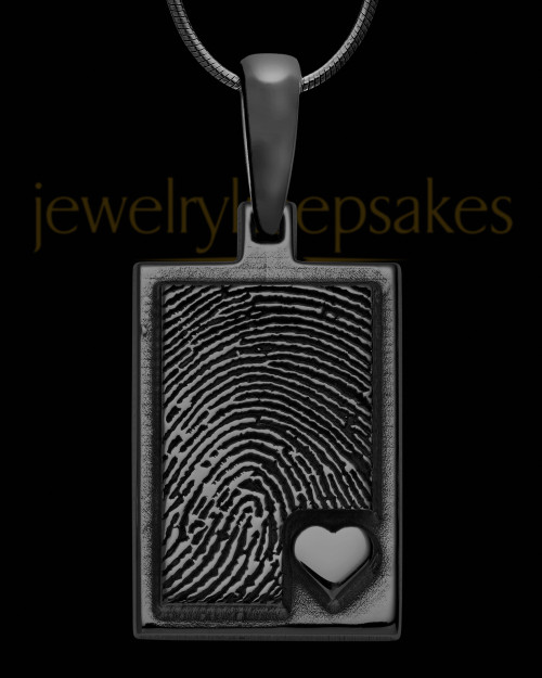 Black Sterling Silver Rectangle with Raised Thumbprint Pendant