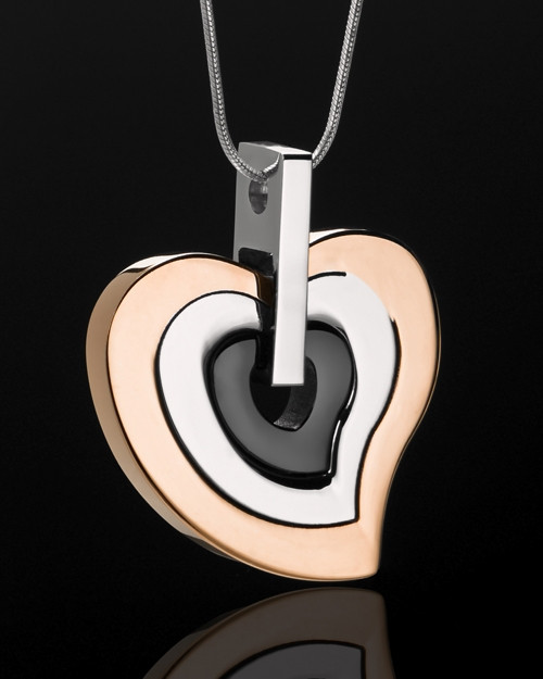 Urn Locket Stainless Rose Gold and Black Gracious Heart