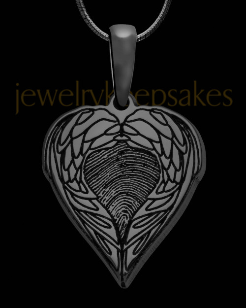 Black Sterling Silver Wings Thumbprint Pendant