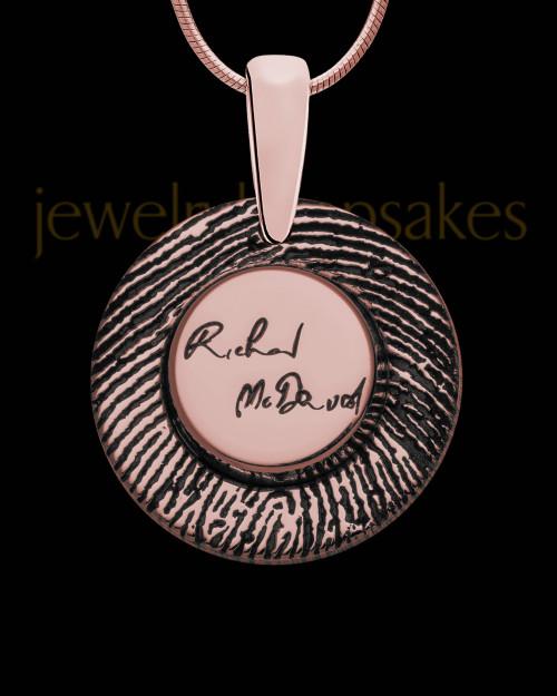 Rose Gold Sterling Silver Signature Circle Thumbprint Pendant