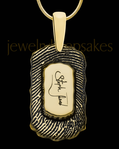 Gold Sterling Silver Small Signature Dog Tag Thumbprint Pendant