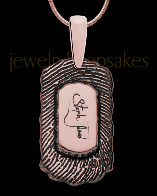 Rose Gold Sterling Silver Small Signature Dog Tag Thumbprint Pendant