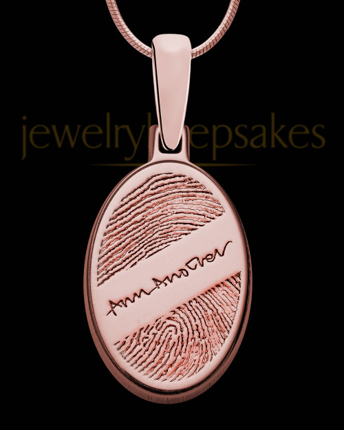 Rose Gold Sterling Silver Signature Oval Thumbprint Pendant